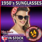 FANCY DRESS ACCESSORY # ADULT LADIES 1950s BLACK CAT EYE SPECS SUNGLASSES